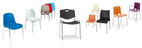 Kunstoffschalenstühle und Stapelstühle