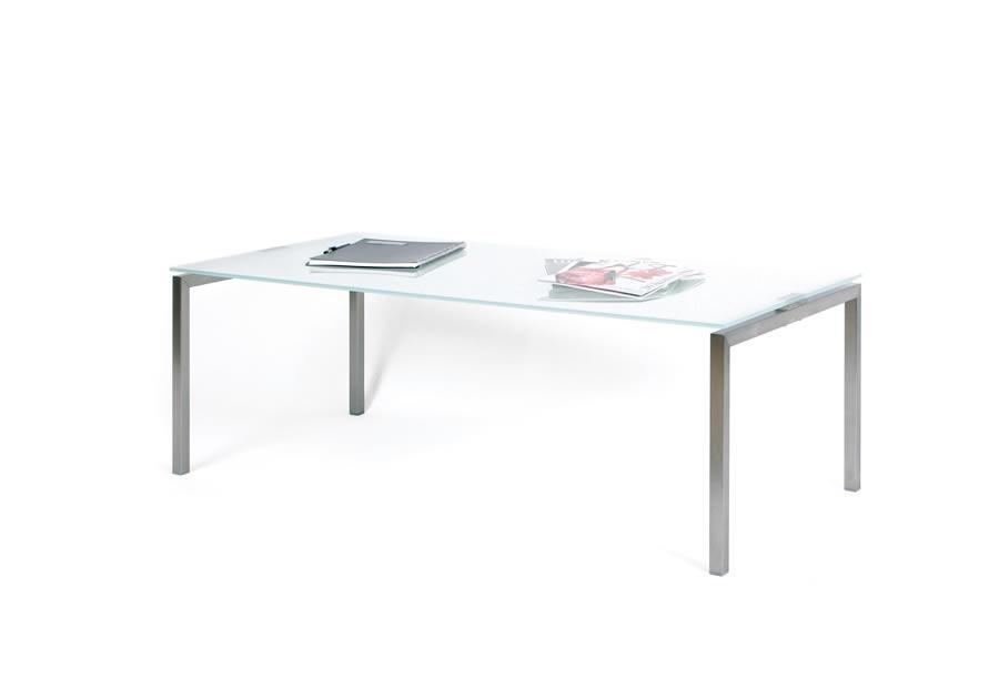 edelstahl glastisch mit satiniertem od klarglas. Black Bedroom Furniture Sets. Home Design Ideas