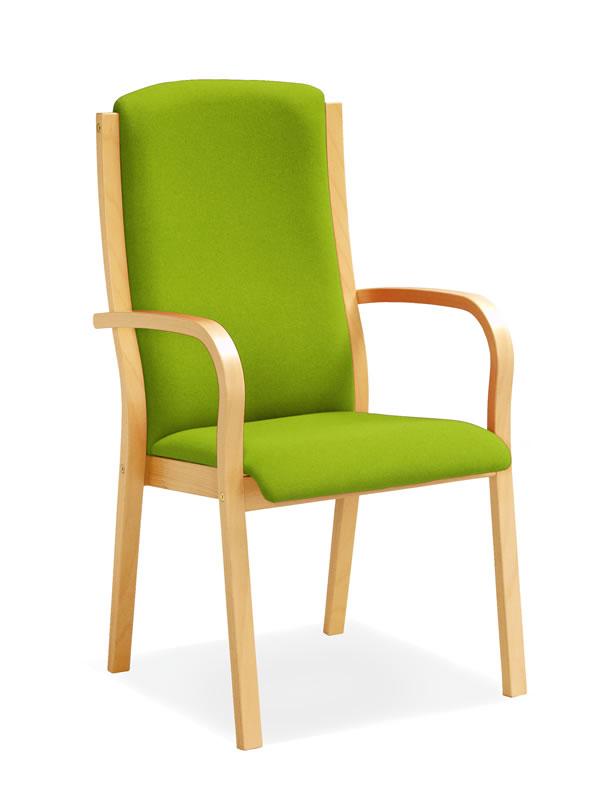 Holzstuhl mit hoher rckenlehne trendy design barhocker mit lehne venlo und holzgestell barstuhl - Holzstuhl mit polster ...